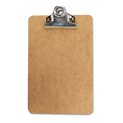"Hardboard Clipboard w/High-Capacity Clip, 1"" Capacity, Holds 6w x 9h, Brown - UNV05610"