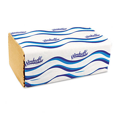 Embossed 1-Fold Paper Towels, 9-3/10 x 10-1/2, Natural, 250/Pack, 16/Carton - WNS106