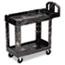 Rubbermaid® Commercial Heavy-Duty Utility Cart, Two-Shelf, 17-1/8w x 38-1/2d x 38-7/8h, Black Thumbnail 1