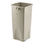 Rubbermaid® Commercial Untouchable® Waste Container, Square, Plastic, 23gal, Beige Thumbnail 1