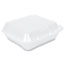 Genpak® Snap-It Vented Foam Hinged Container, White, 8-1/4 x 8 x 3, 100/Bag, 2 Bags/CT Thumbnail 2