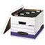 "Bankers Box® HANG'N'STOR Medium-Duty Storage Boxes, Letter/Legal Files, 13"" x 16"" x 10.5"", White/Blue, 4/Carton Thumbnail 1"