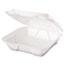Genpak® Snap It Foam Container, 1-Comp, 9 1/4 x 9 1/4 x 3, White, 100/Bag, 2 Bags/Carton Thumbnail 3