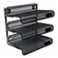 """Universal® Deluxe Mesh Three-Tier Desk Shelf, 3 Sections, Letter Size Files, 13.25"""" x 9.25"""" x 12.38"""", Black Thumbnail 1"""