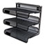 """Universal® Deluxe Mesh Three-Tier Desk Shelf, 3 Sections, Letter Size Files, 13.25"""" x 9.25"""" x 12.38"""", Black Thumbnail 2"""