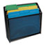 """Universal® Deluxe Mesh Three-Tier Organizer, 3 Sections, Letter Size Files, 12.63"""" x 3.63"""" x 11.5"""", Black Thumbnail 4"""