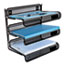 """Universal® Deluxe Mesh Three-Tier Desk Shelf, 3 Sections, Letter Size Files, 13.25"""" x 9.25"""" x 12.38"""", Black Thumbnail 3"""