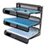 """Universal® Deluxe Mesh Three-Tier Desk Shelf, 3 Sections, Letter Size Files, 13.25"""" x 9.25"""" x 12.38"""", Black Thumbnail 4"""