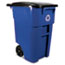 Rubbermaid® Commercial Brute Recycling Rollout Container, Square, 50gal, Blue Thumbnail 1