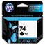 HP 74 Ink Cartridge, Black (CB335WN) Thumbnail 1