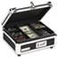 Vaultz® Plastic & Steel Cash Box w/Tumbler Lock, Black & Chrome Thumbnail 1