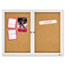 Quartet® Enclosed Bulletin Board, Natural Cork/Fiberboard, 48 x 36, Silver Aluminum Frame Thumbnail 1