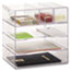 Rubbermaid® Optimizers Four-Way Organizer with Drawers, Plastic, 10 x 13 1/4 x 13 1/4, Clear Thumbnail 3