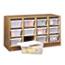 Safco® Modular Wood/Plastic 12 Bin Supplies Organizer, 34 x 13 x 19, Medium Oak/Clear Thumbnail 1