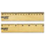 """Westcott® Flat Wood Ruler w/Two Double Brass Edges, 12"""", Clear Lacquer Finish Thumbnail 2"""