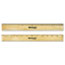 """Westcott® Flat Wood Ruler w/Two Double Brass Edges, 12"""", Clear Lacquer Finish Thumbnail 3"""