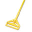 "Boardwalk® Quick Change Side-Latch Plastic Mop Head Handle, 60"" Aluminum Handle, Yellow Thumbnail 1"