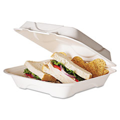ECO EPHC91 Eco-Products Bagasse Hinged Clamshell Containers ECOEPHC91