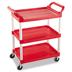 RCP 342488RED Rubbermaid Commercial Three-Shelf Service Cart RCP342488RED