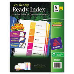 AVE 11080 Avery Customizable Table of Contents Ready Index Multicolor Dividers with Printable Section Titles AVE11080