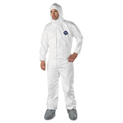 DUP TY122S3XL DuPont Tyvek Elastic-Cuff Hooded Coveralls With Attached Boots DUPTY122S3XL