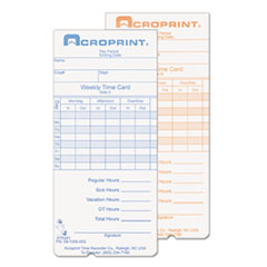 ACP 097000000 Acroprint Cards for Model ATR240 and ATR360 Top Loading Time Clocks ACP097000000