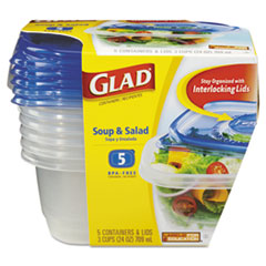 CLO 60796PK Glad Food Storage Containers with Lids CLO60796PK