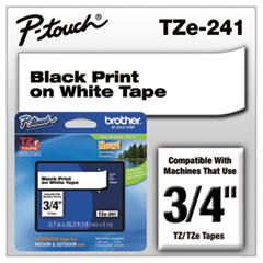 "TZe Standard Adhesive Laminated Labeling Tape, 3/4""w, Black on White"