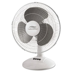 LAK LDF1210BWM Lakewood Three-Speed Oscillating Desk Fan LAKLDF1210BWM