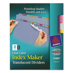 AVE 11433 Avery Index Maker Print & Apply Clear Label Plastic Dividers AVE11433