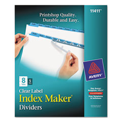 AVE 11411 Avery Index Maker Print & Apply Clear Label Dividers with Color Tabs AVE11411
