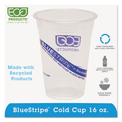 ECO EPCR16 Eco-Products BlueStripe Recycled Content Clear Plastic Cold Drink Cups ECOEPCR16
