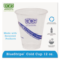 ECO EPCR12 Eco-Products BlueStripe Recycled Content Clear Plastic Cold Drink Cups ECOEPCR12