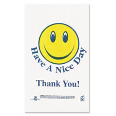 BPC T16SMILEY Barnes Paper Company Smiley Face Shopping Bags BPCT16SMILEY