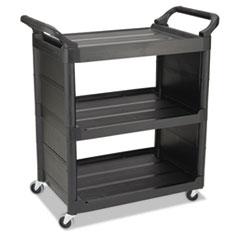 RCP 3421BLA Rubbermaid  Commercial Three-Shelf Service Cart RCP3421BLA