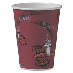 SCC 412SINPK Dart Solo Paper Hot Drink Cups in Bistro Design SCC412SINPK