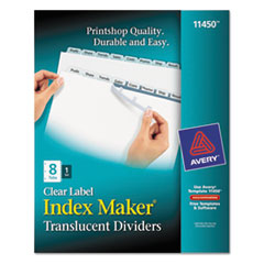 AVE 11450 Avery Index Maker Print & Apply Clear Label Plastic Dividers AVE11450