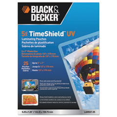 BOS LAM5X725 BLACK+DECKER TimeShield Laminating Pouches BOSLAM5X725