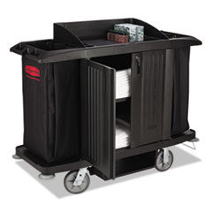 RCP 6191BLA Rubbermaid Commercial Full-Size Housekeeping Cart RCP6191BLA