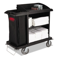 RCP 6190BLA Rubbermaid Commercial Multi-Shelf Cleaning Cart RCP6190BLA