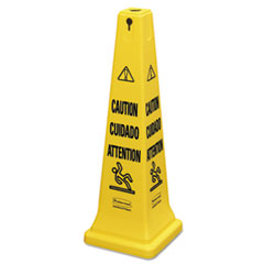 RCP 6276YEL Rubbermaid Commercial Multilingual Safety Cone RCP6276YEL