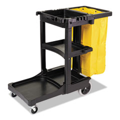 RCP 617388BLU Rubbermaid Commercial Multi-Shelf Cleaning Cart RCP617388BLU
