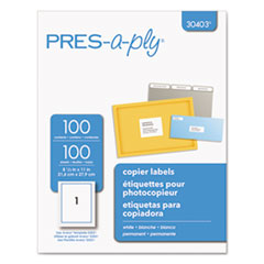 AVE 30403 PRES-a-ply White Copier Labels AVE30403