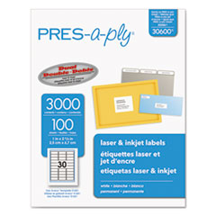 Laser Address Labels, 1 x 2 5/8, White, 3000/Box