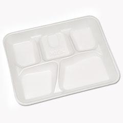 Lightweight Foam School Trays, 5-Compartment, 8.25 x 10.5 x 1,  White, 500/Carton