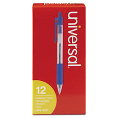 UNV 15531 Universal Comfort Grip Clear Barrel Retractable Ballpoint Pen UNV15531