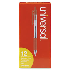 UNV 15532 Universal Comfort Grip Clear Barrel Retractable Ballpoint Pen UNV15532