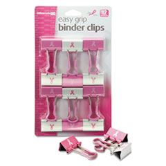 OIC 08905 Officemate Easy Grip Pink Binder Clips OIC08905
