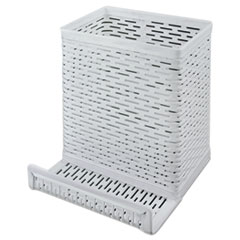 AOP ART20014WH Artistic Urban Collection Punched Metal Pencil Cup with Cell Phone Stand AOPART20014WH