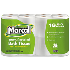 MRC 1646616PK Marcal 100% Recycled Two-Ply Bath Tissue MRC1646616PK